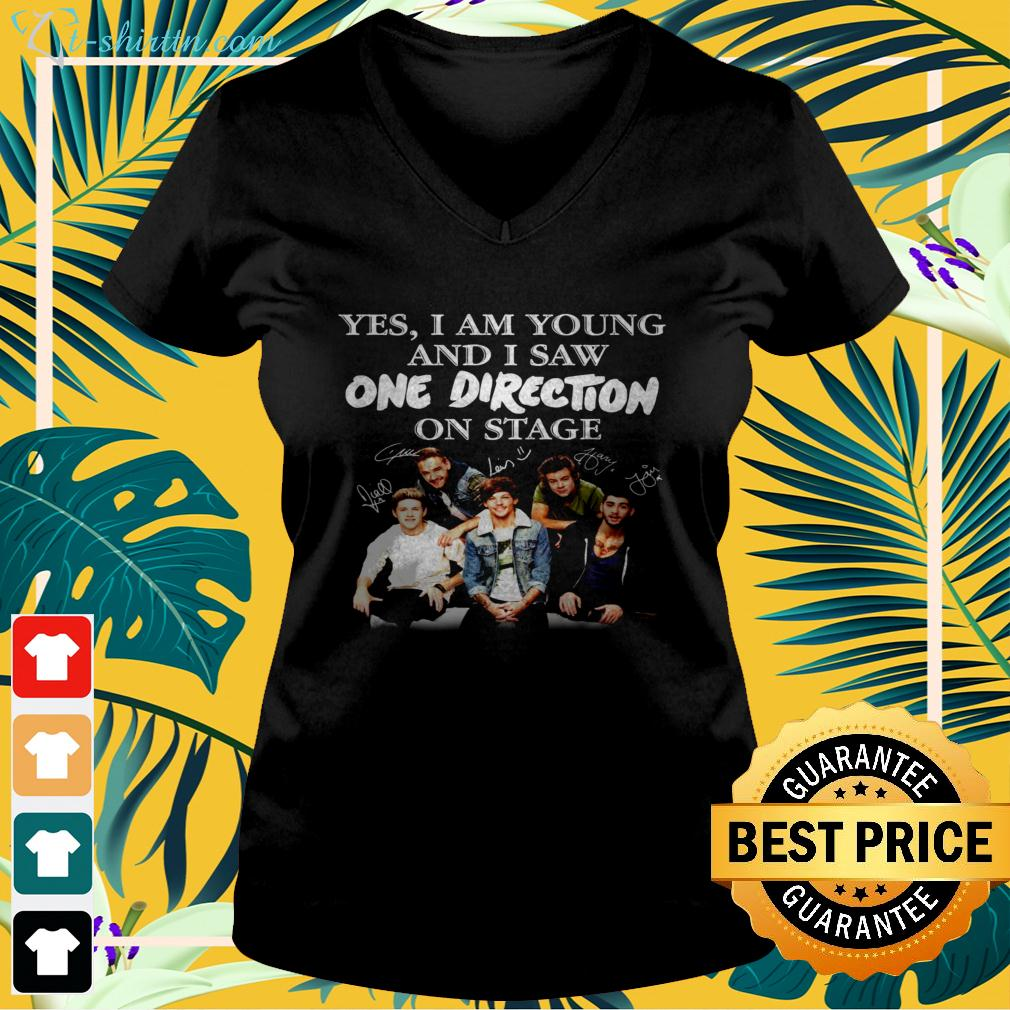 Yes I am old but I saw One Direction on stage signatures v-neck t-shirt