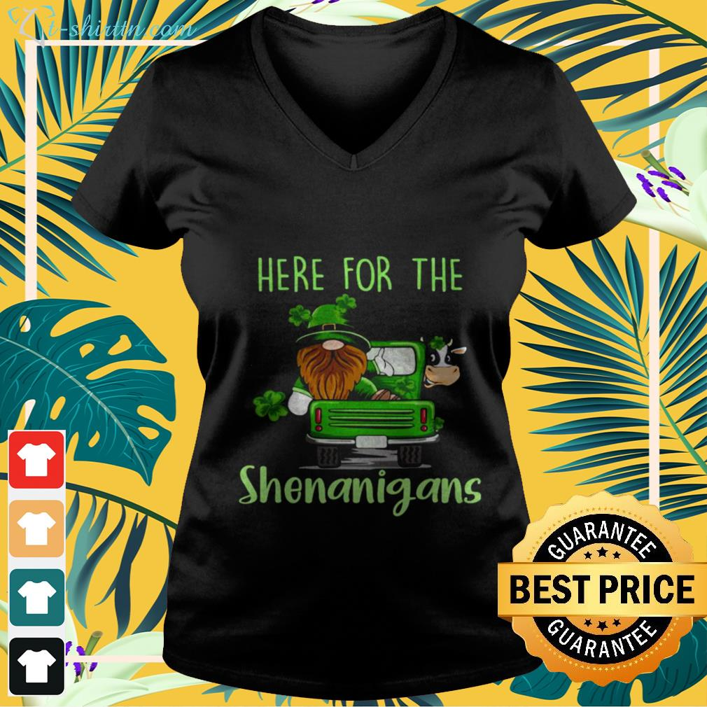 v-neck-t-shirt-5 Gnome here for the Shenanigans St Patrick's Day shirt