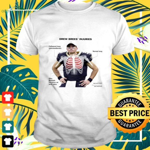 drew brees injuries collapsed lung t shirt