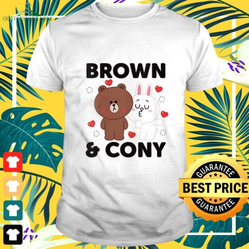 line friends brown and cony with hearts t shirt