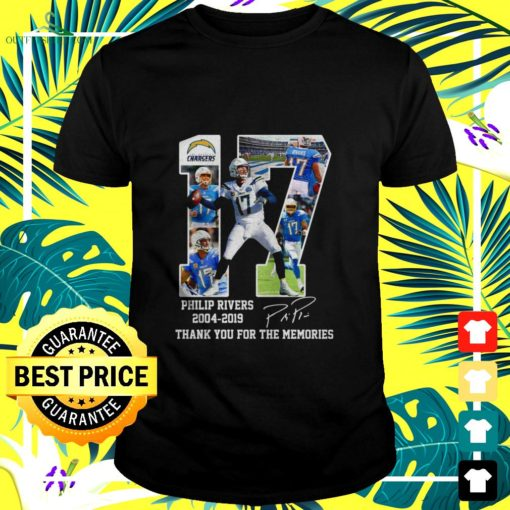 los angeles chargers 17 philip rivers 2004 2019 thank you for the memories t shirt