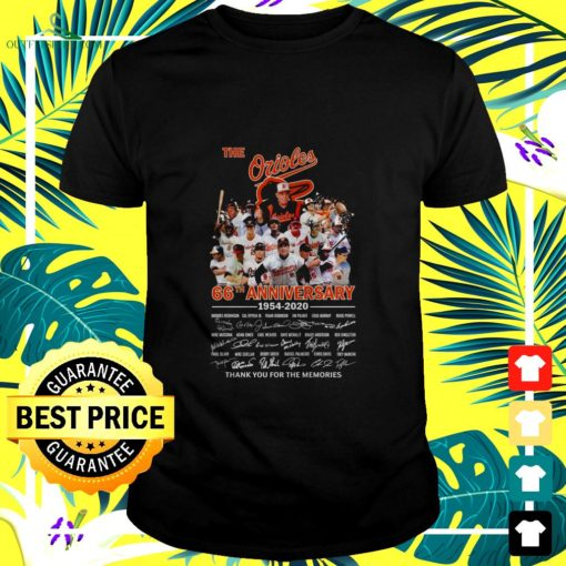 the orioles 66th anniversary 1954 2020 thank you for the memories t shirt