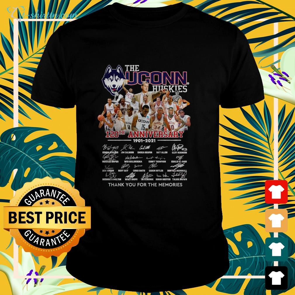 The UConn Huskies 120th anniversary 1901 2021 thank you for the memories t-shirt
