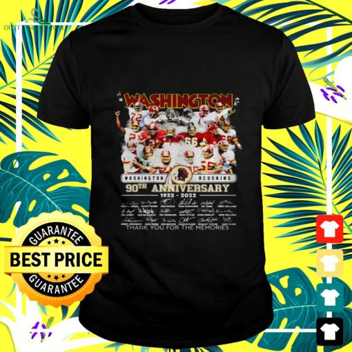 washington redskins 90th anniversary 1932 2022 thank you for the memories signatures t shirt