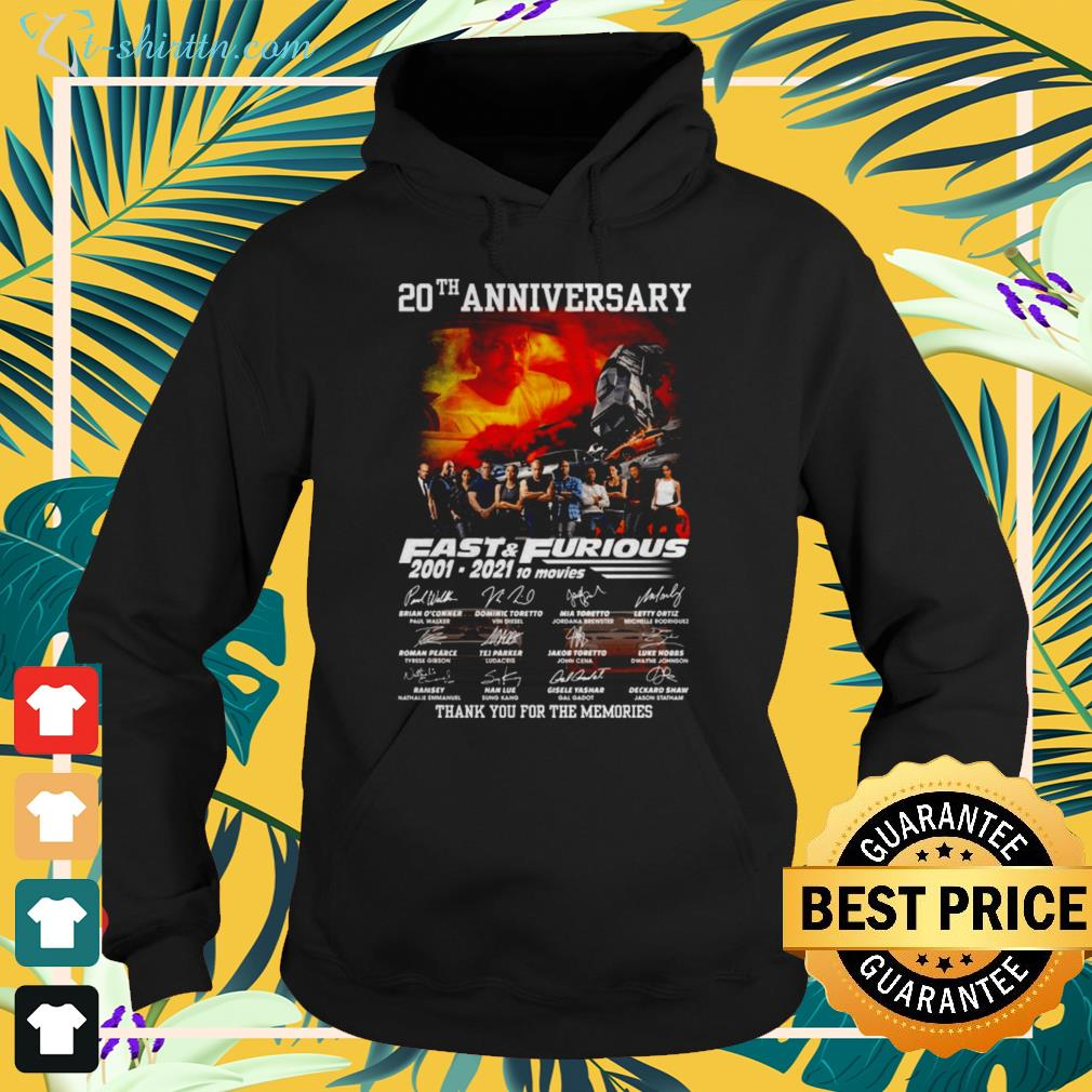 20th Anniversary Fast and Furious 2001-2021 10 movies signatures hoodie