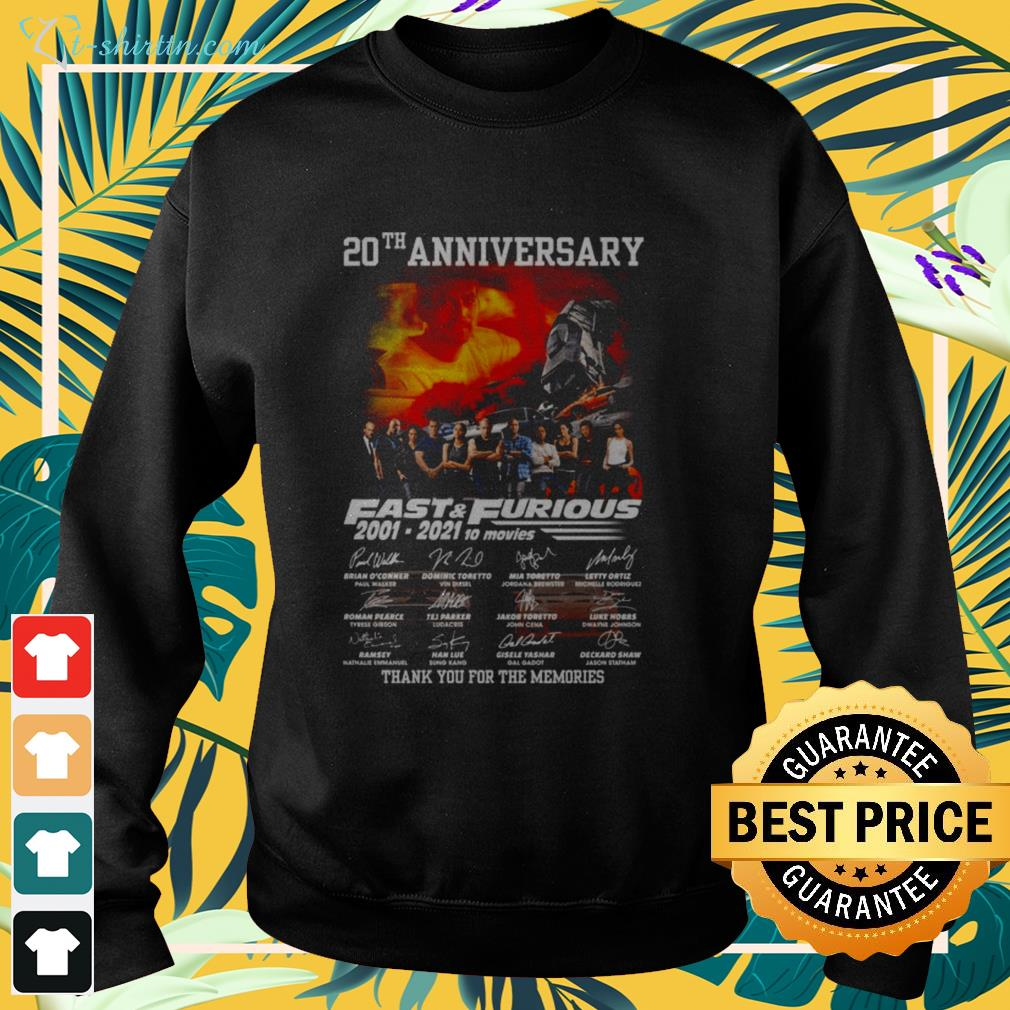 20th Anniversary Fast and Furious 2001-2021 10 movies signatures sweater