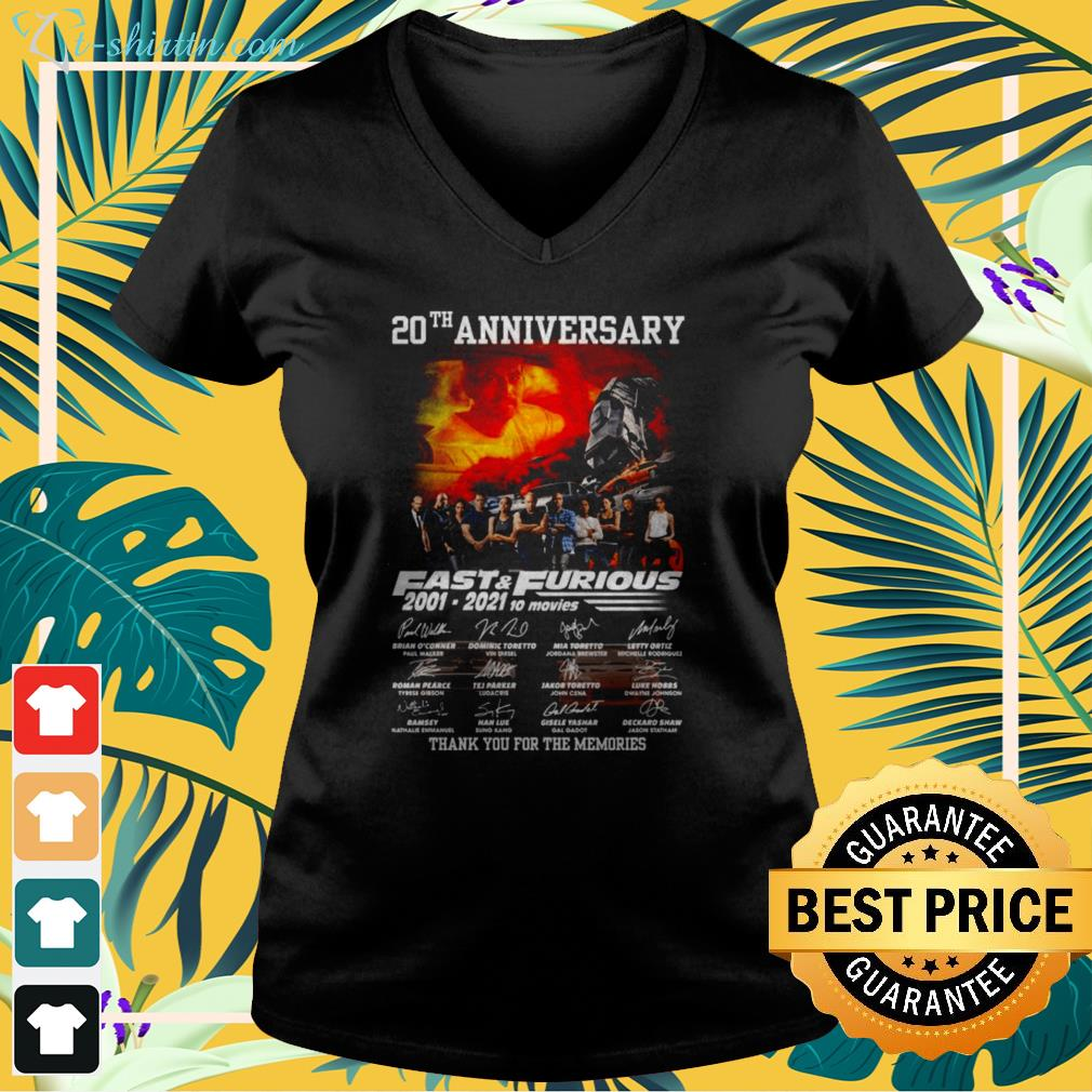20th Anniversary Fast and Furious 2001-2021 10 movies signatures v-neck t-shirt