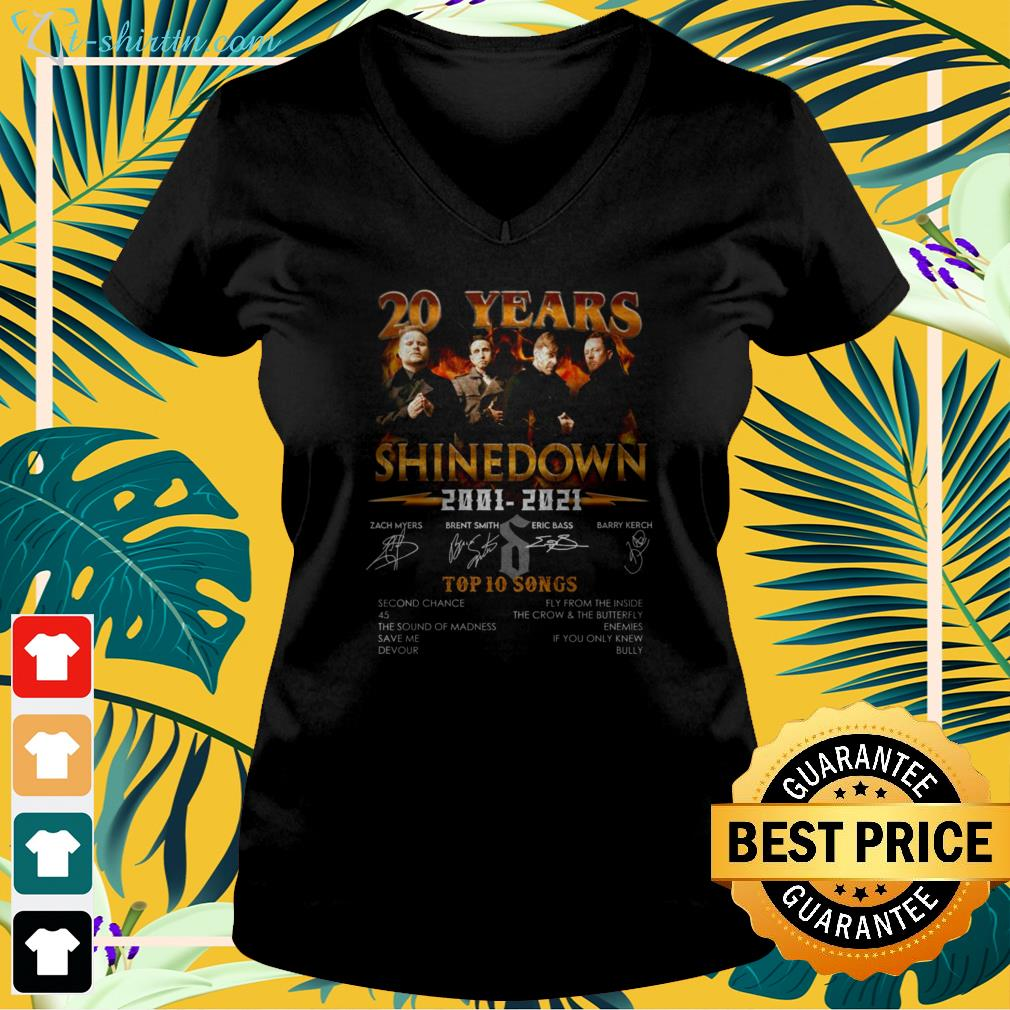 20 years Shinedown 2001 2021 Top 10 songs signature v-neck t-shirt