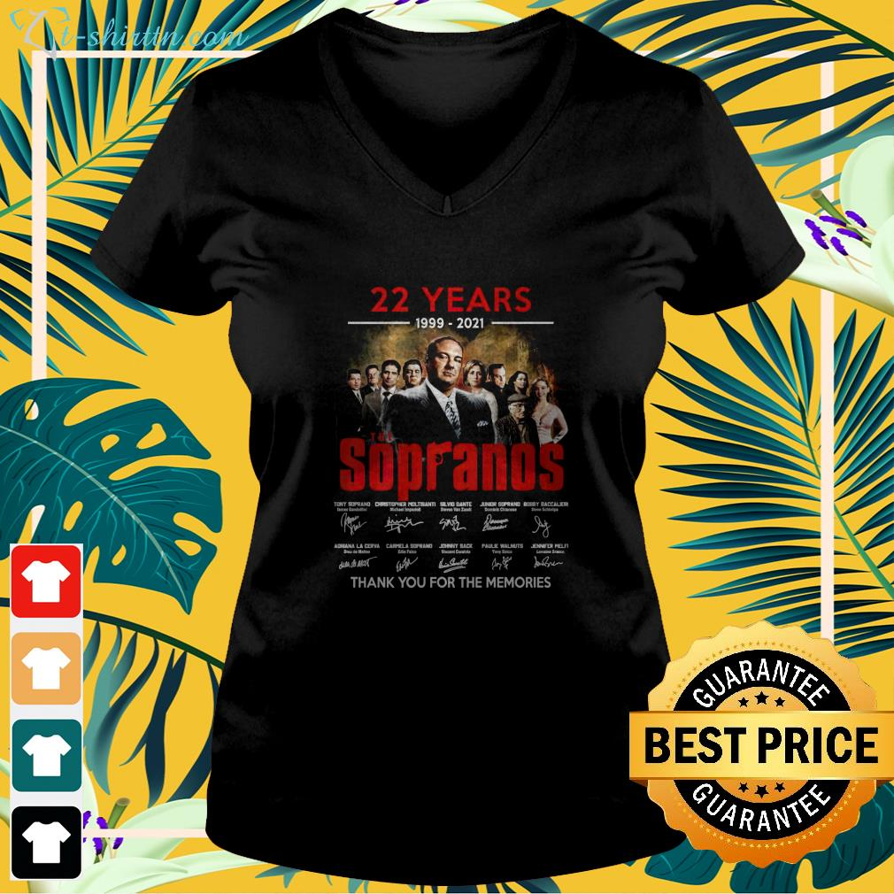 22 years 1999 2021 The Sopranos thank you for the memories v-neck  t-shirt