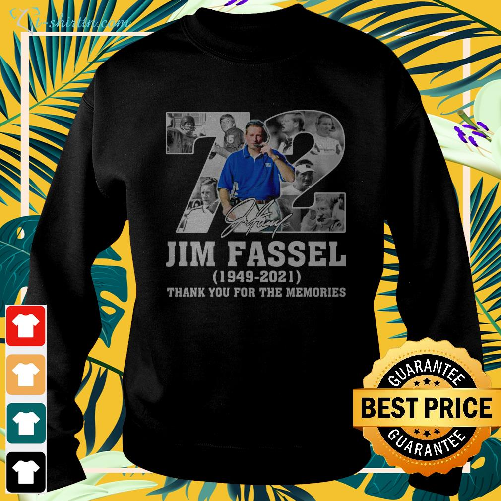 72 Jim Fassel 1949 2021 thank you for the memories sweater