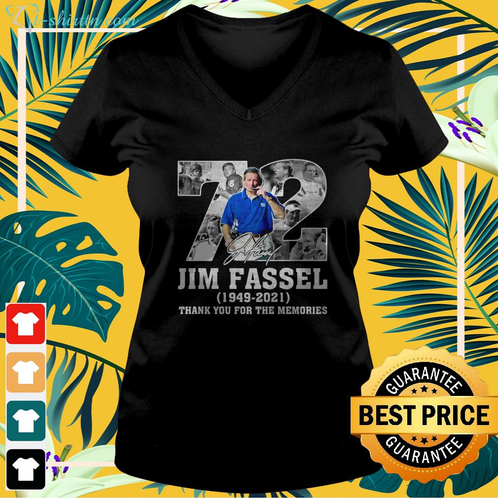 72 Jim Fassel 1949 2021 thank you for the memories v-neck t-shirt