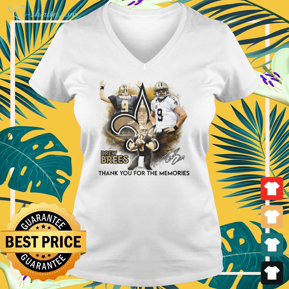 Drew Brees New Orleans Saints thank you for the memories signature v-neck t-shirt