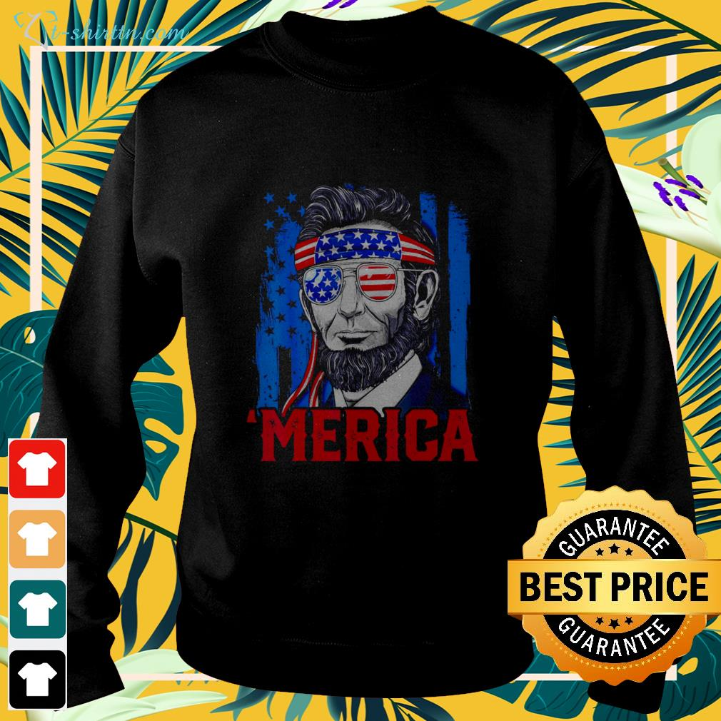 Abraham Lincoln Merica 4th Of July American Flag sweater