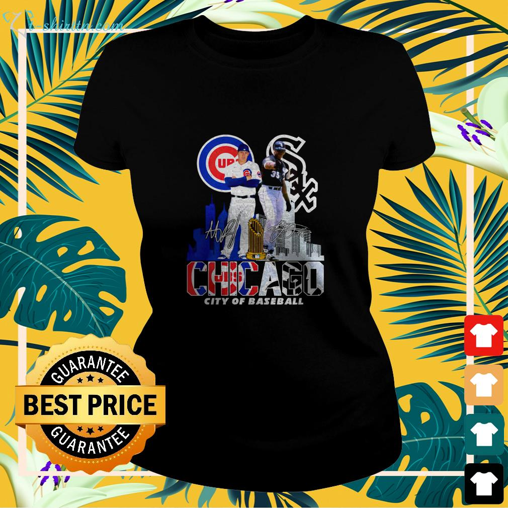 chicago cubs white sox city of baseball signature ladies tee
