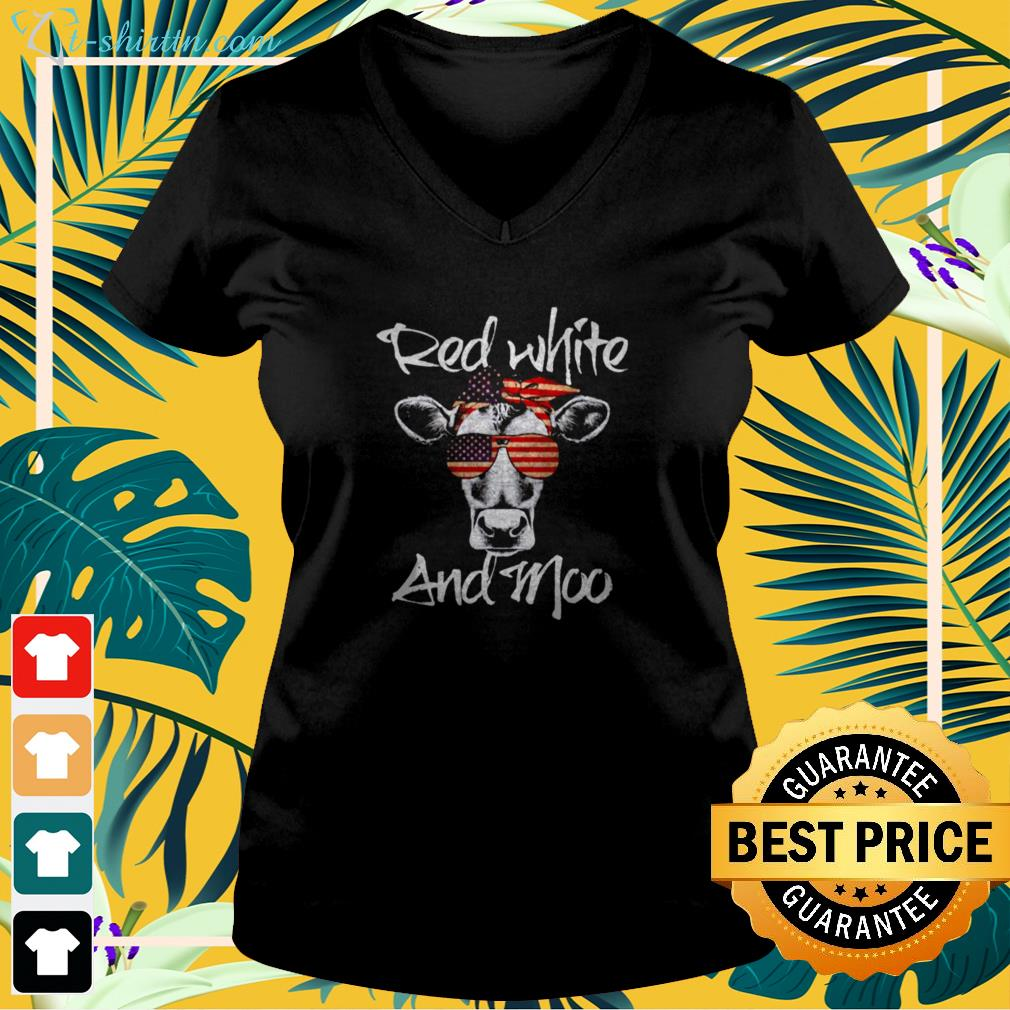 Cow red white and moo v-neck t-shirt