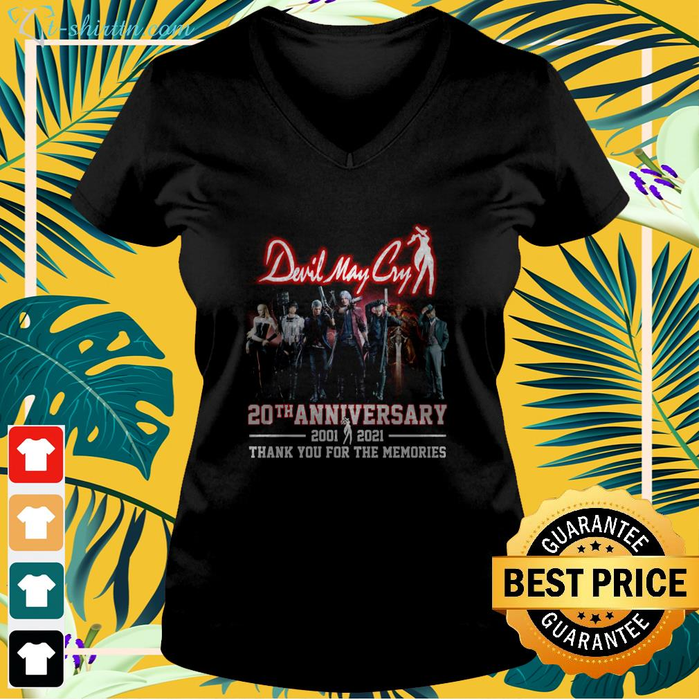Devil May Cry 20th anniversary 2001 2021 thank you for the memories v-neck t-shirt