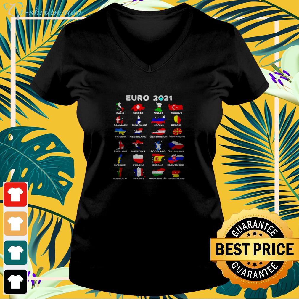 Euro 2021 Jersey All countries participating in Euro v-neck t-shirt