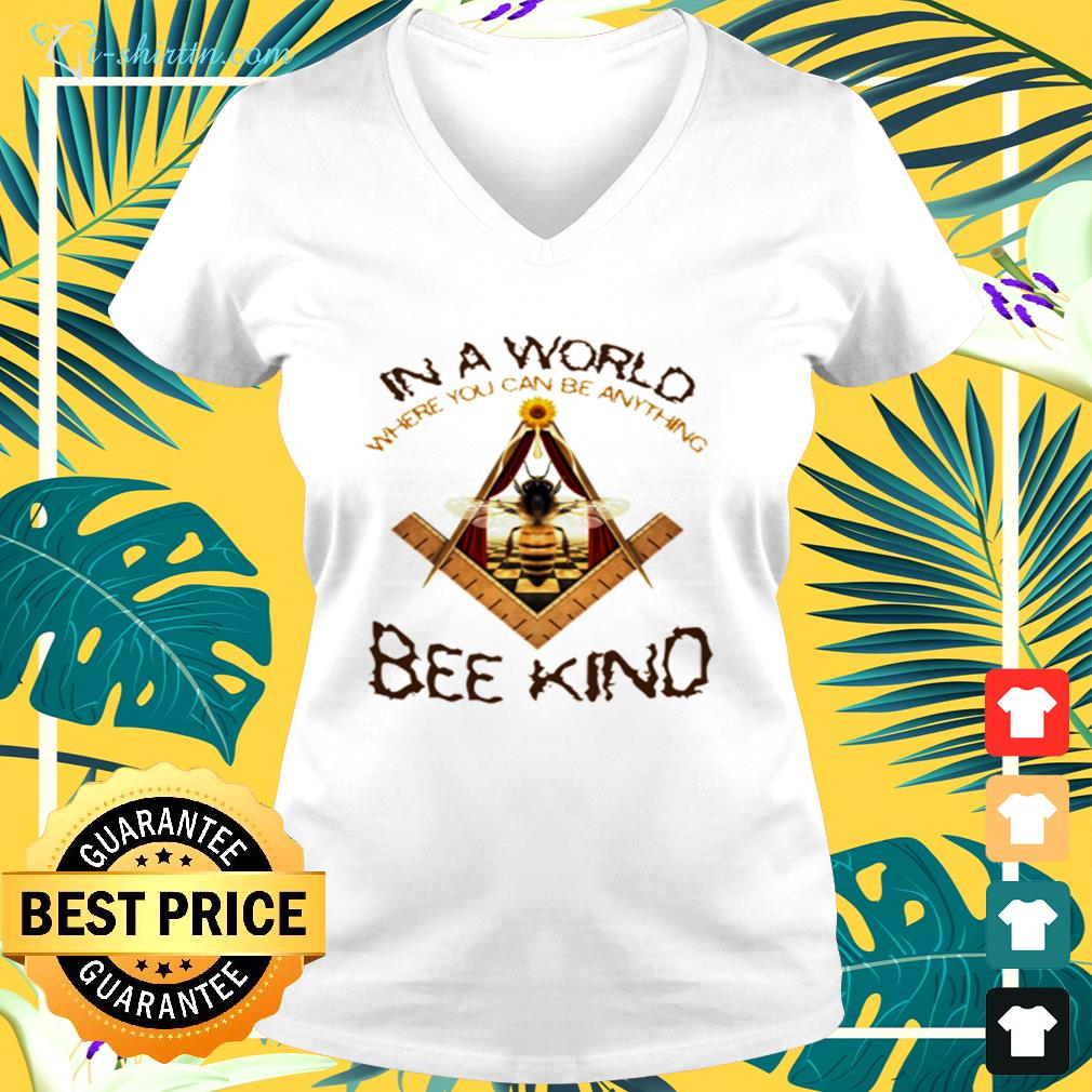 In a world where you can be anything bee kind v-neck t-shirt