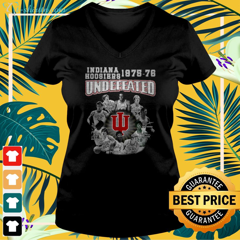 Indiana Hoosiers 1975 76 Undefeated signature  v-neck t-shirt