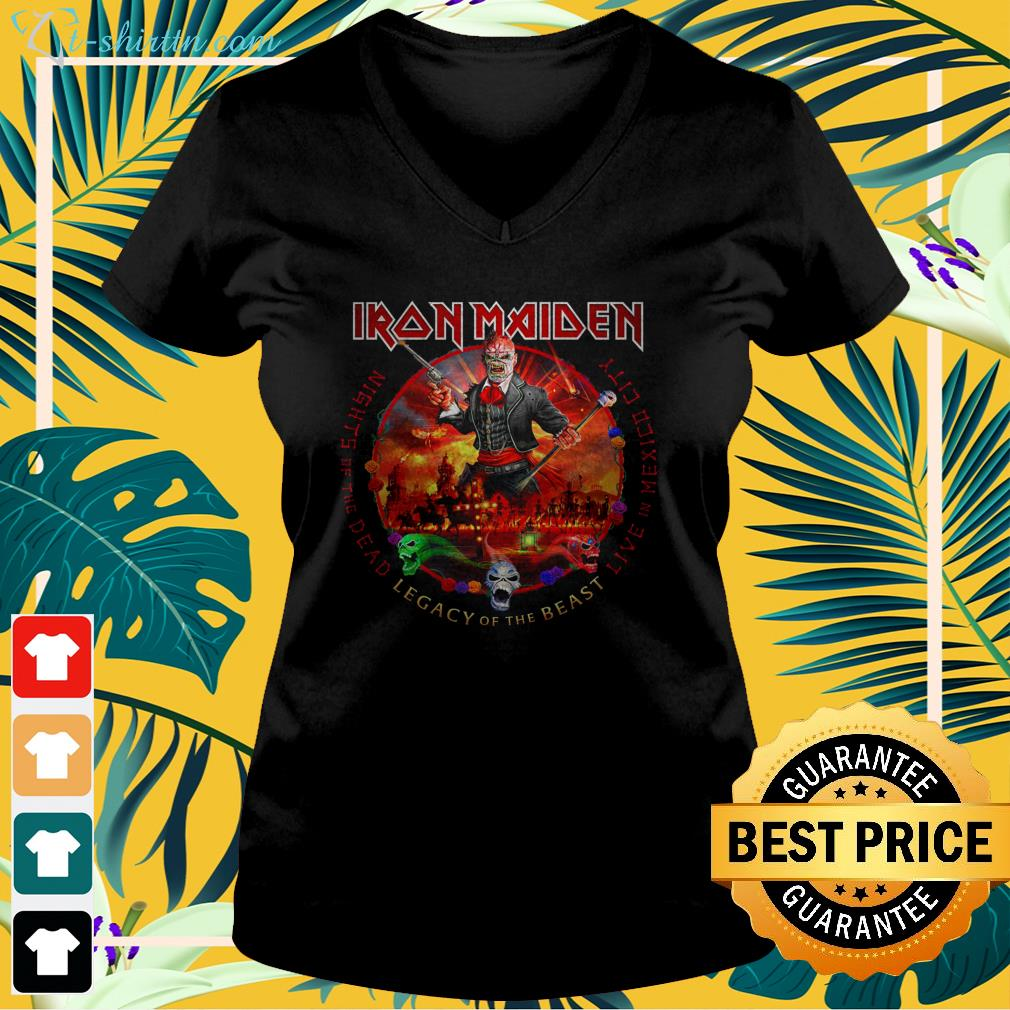 Iron Maiden nights of the dead legacy of the beast live in mexico city v-neck t-shirt