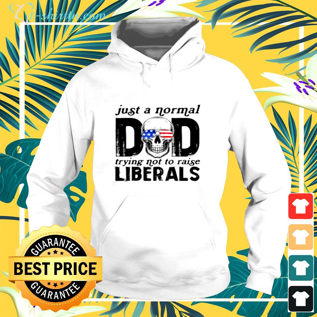 Just a normal dad trying not to raise liberals skull sunglasses american flag hoodie