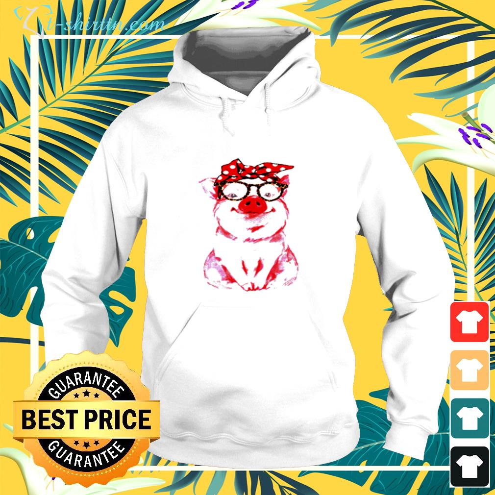 Pig wearing red bandana and leopard glasses hoodie