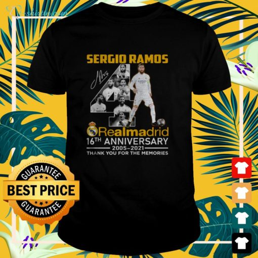 Sergio Ramos 4th Real Madrid 16th Anniversary 2005-2021 signature thank you for the memories t-shirt