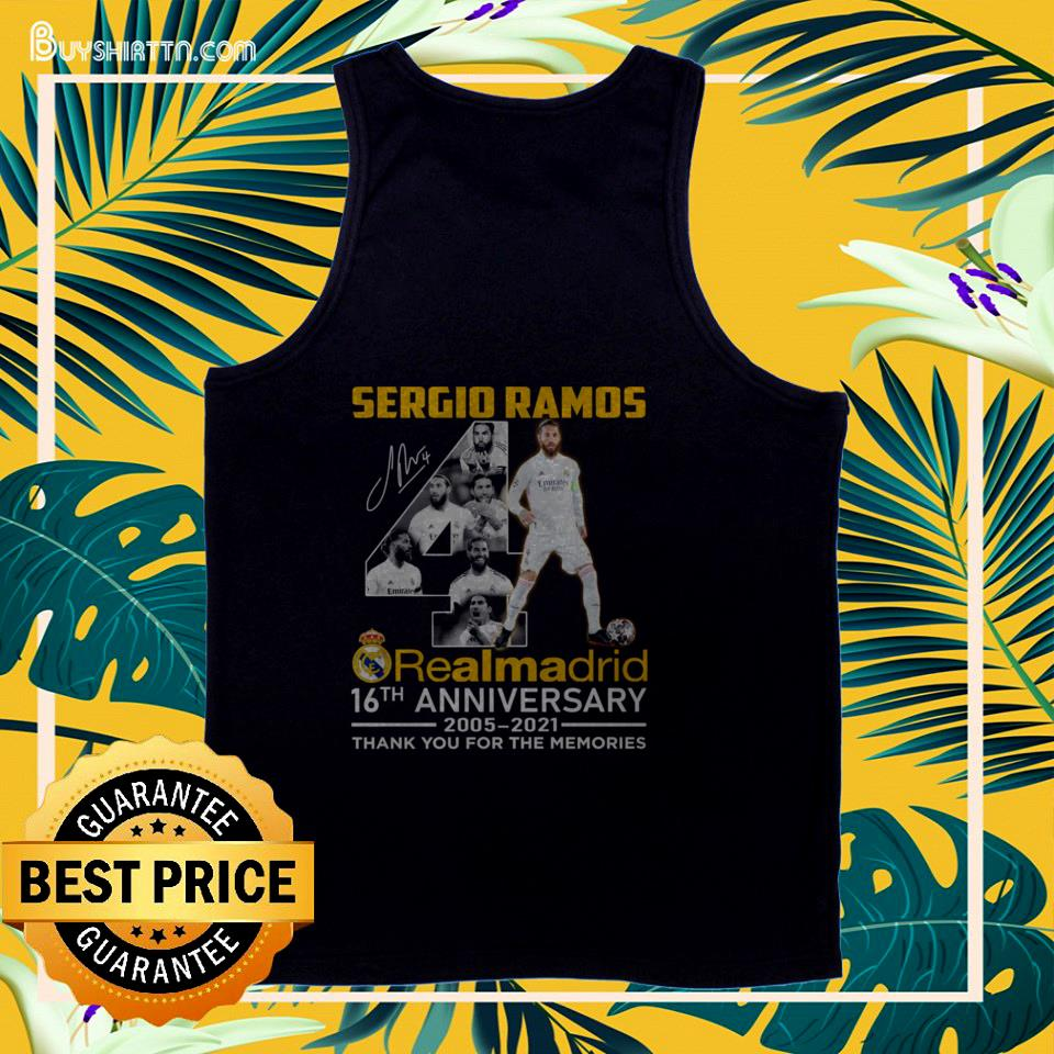 Sergio Ramos 4th Real Madrid 16th Anniversary 2005-2021 signature thank you for the memories tank top