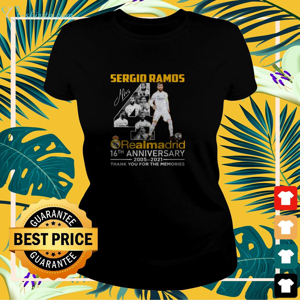 Sergio Ramos 4th Real Madrid 16th Anniversary 2005-2021 signature thank you for the memories ladies-tee