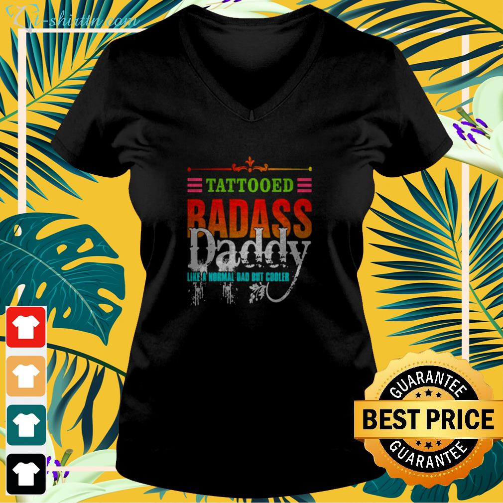 Tattooed badass Daddy like a normal Dad but cooler vintage v-neck t-shirt