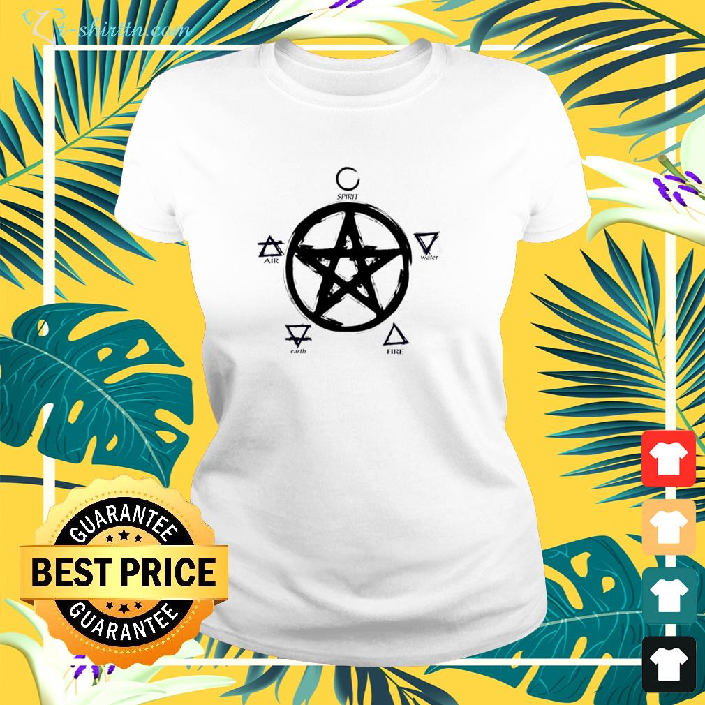 Witch pentacle spirit water fire earth air ladies-tee