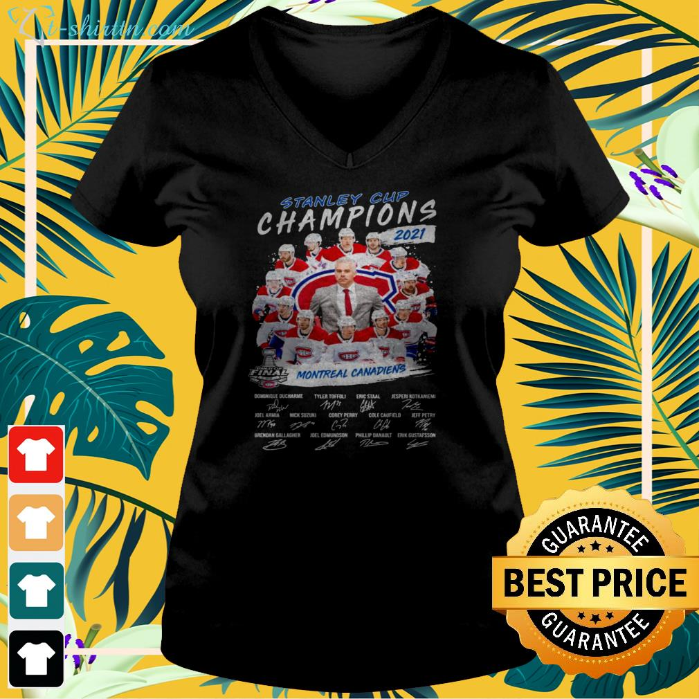 2021 Stanley Cup Champions Montreal Canadiens signature v-neck t-shirt