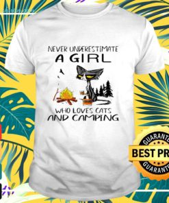 Black cat never underestimate a girl who loves cats and camping shirt
