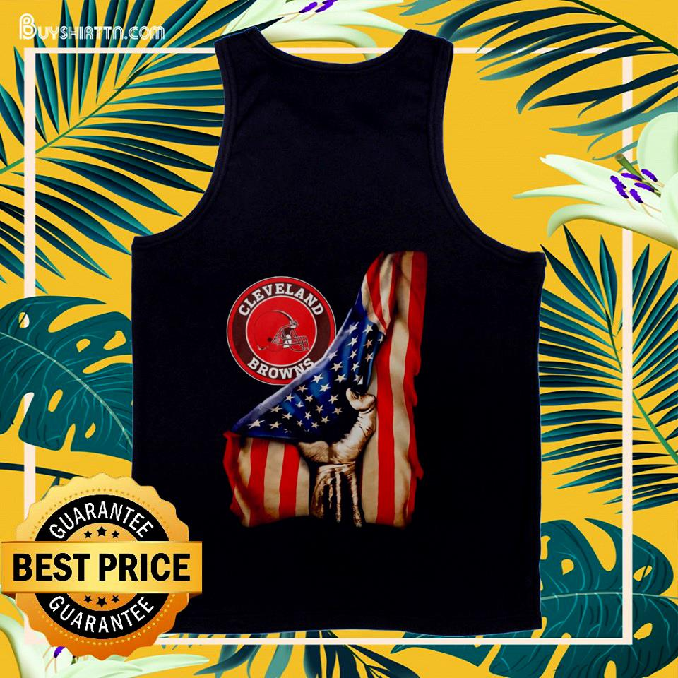 Cleveland Browns inside American flag tank top