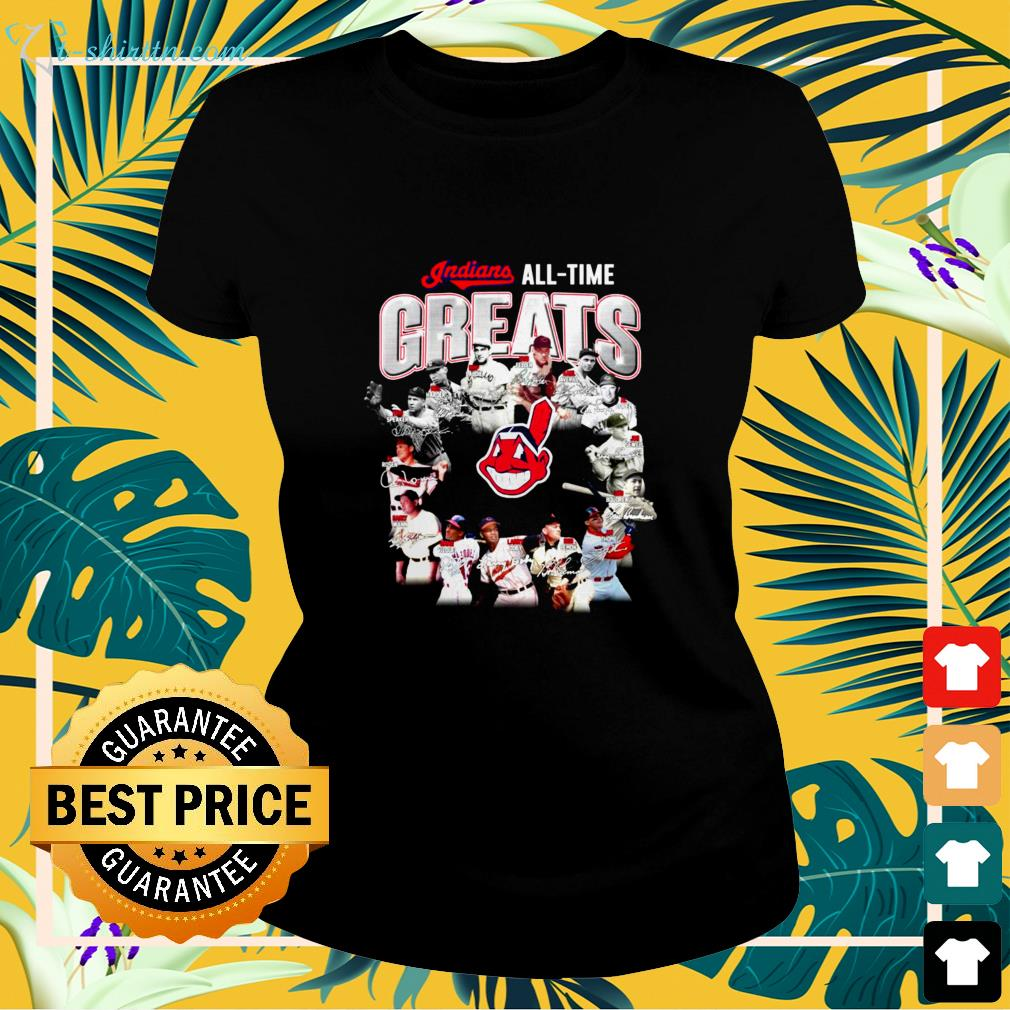 Cleveland Indians all time Greats signatures ladies-tee