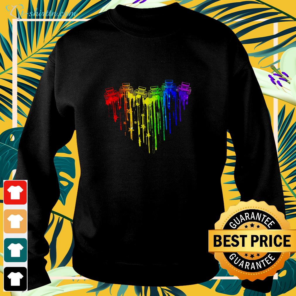 Colorful dripping heart Jeep sweater