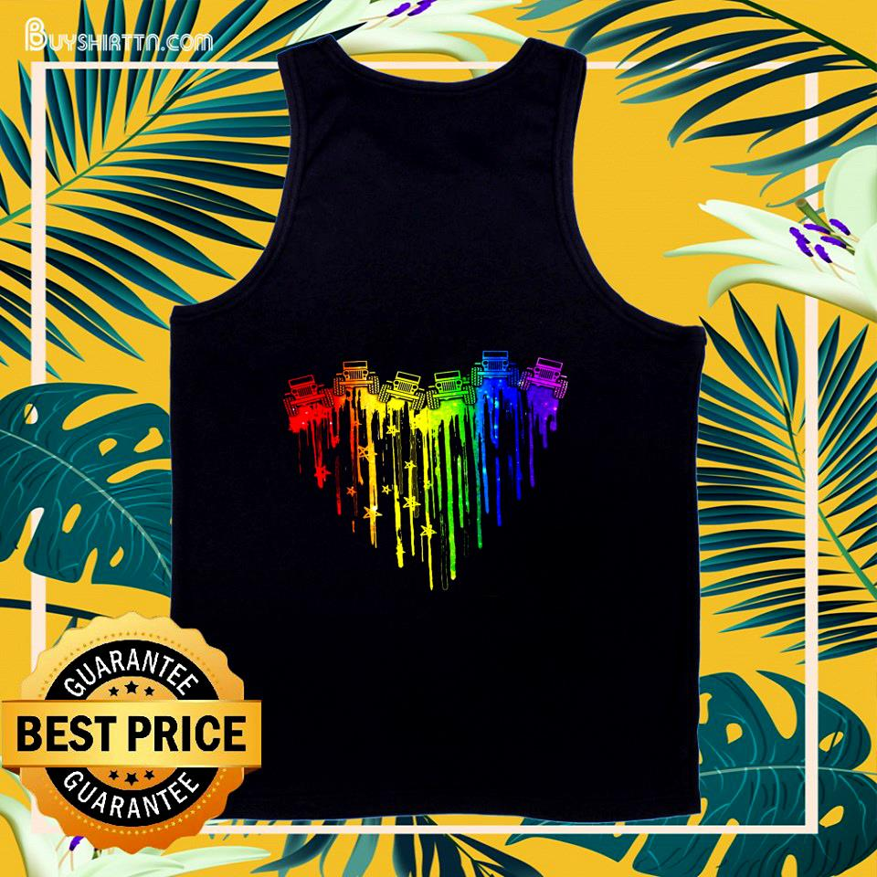 Colorful dripping heart Jeep tank top