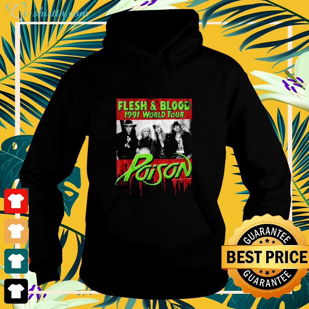 Flesh and Blood 1991 world tour Poison Rock band hoodie