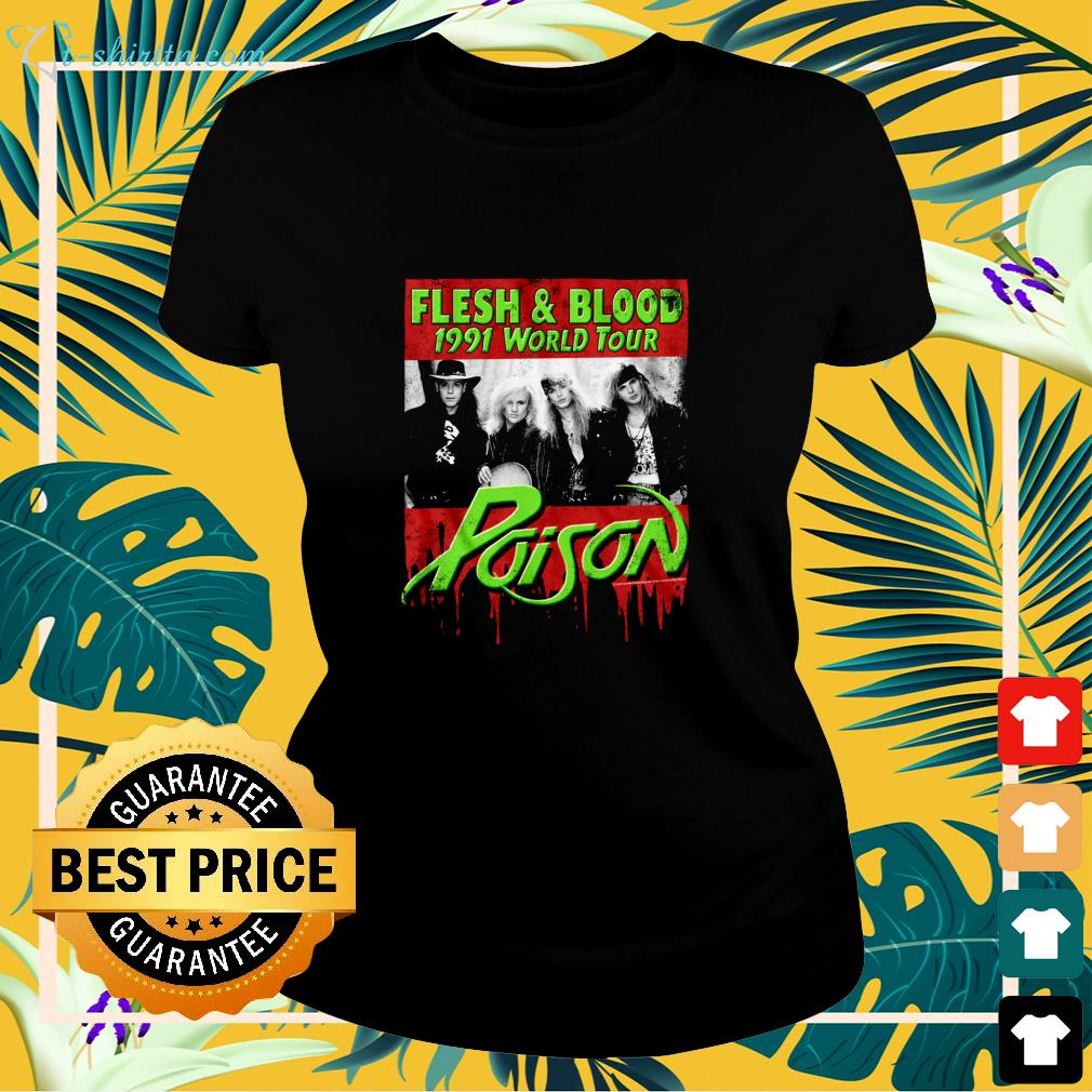 Flesh and Blood 1991 world tour Poison Rock band ladies-tee