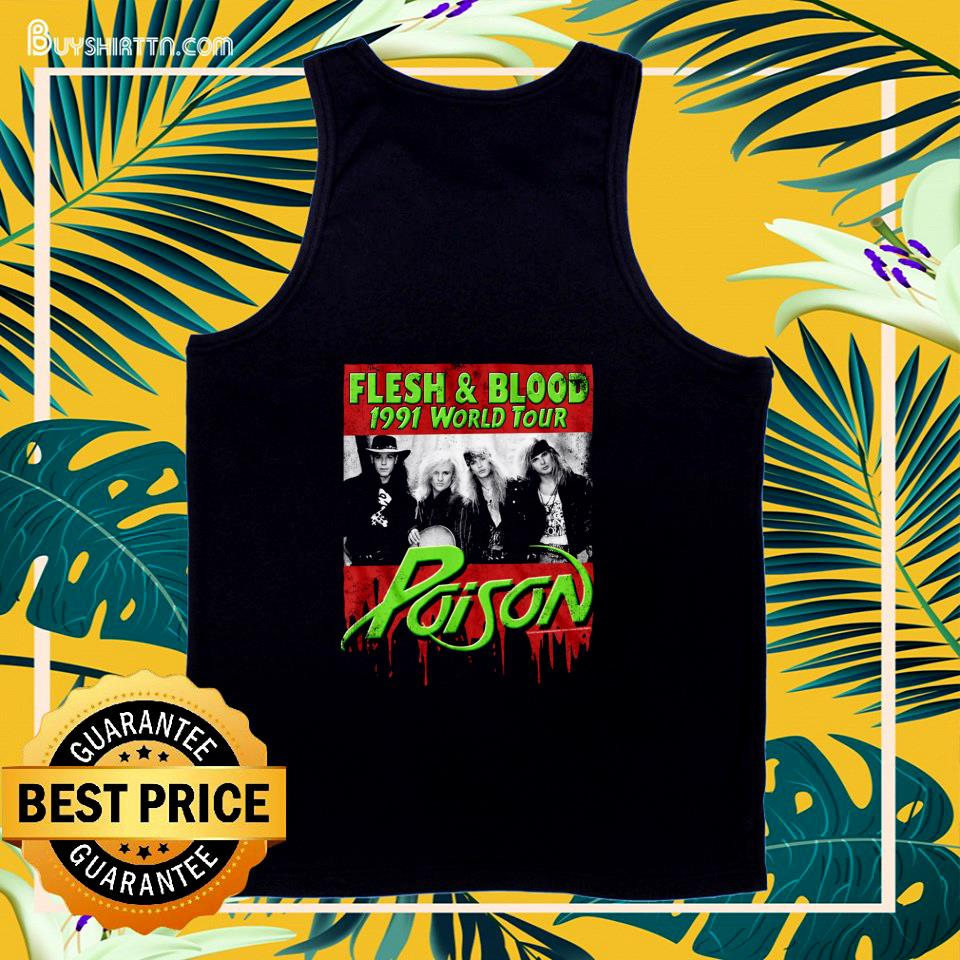 Flesh and Blood 1991 world tour Poison Rock band  tank top