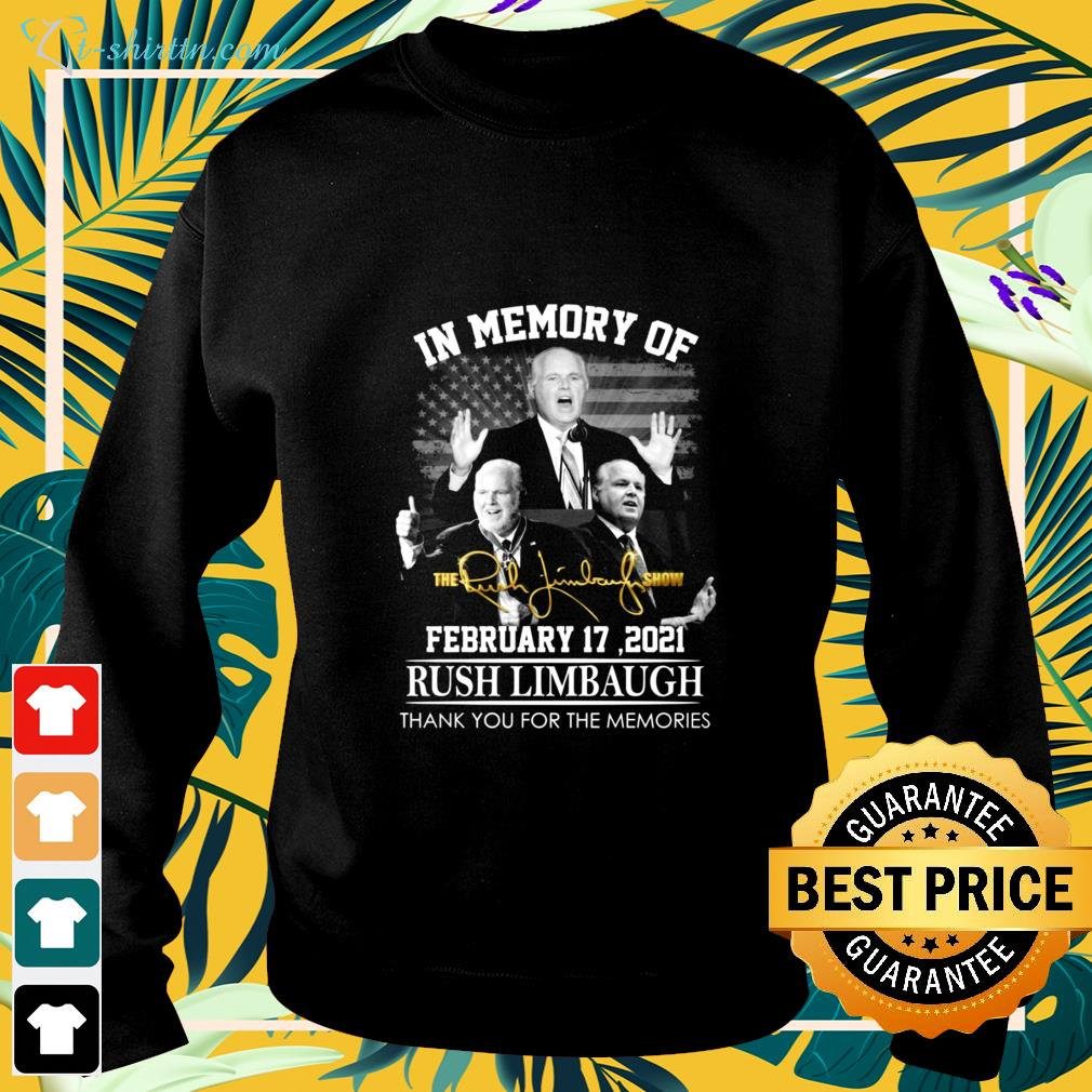 In memory of Rush Limbaugh February 17 2021 thank you for the memories signature sweater