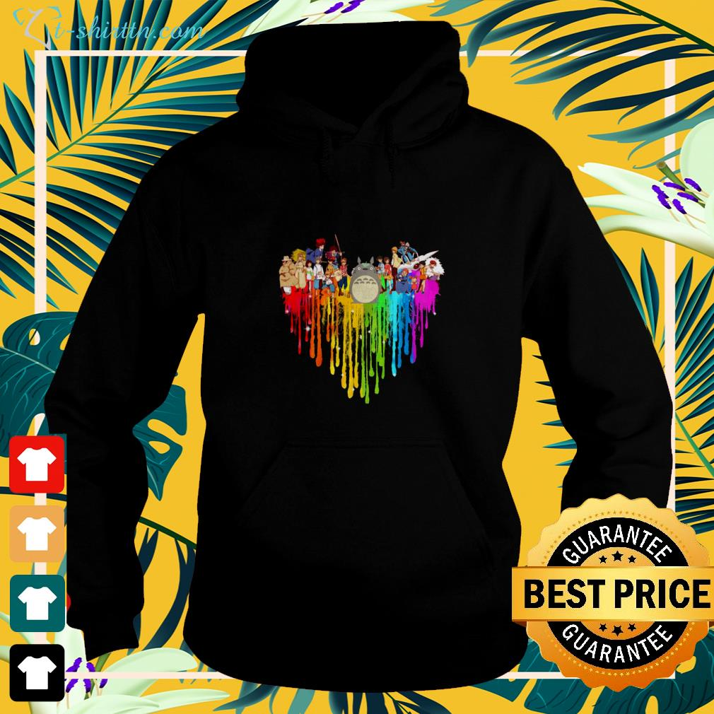 My Neighbor Totoro Characters colorful dripping heart hoodie