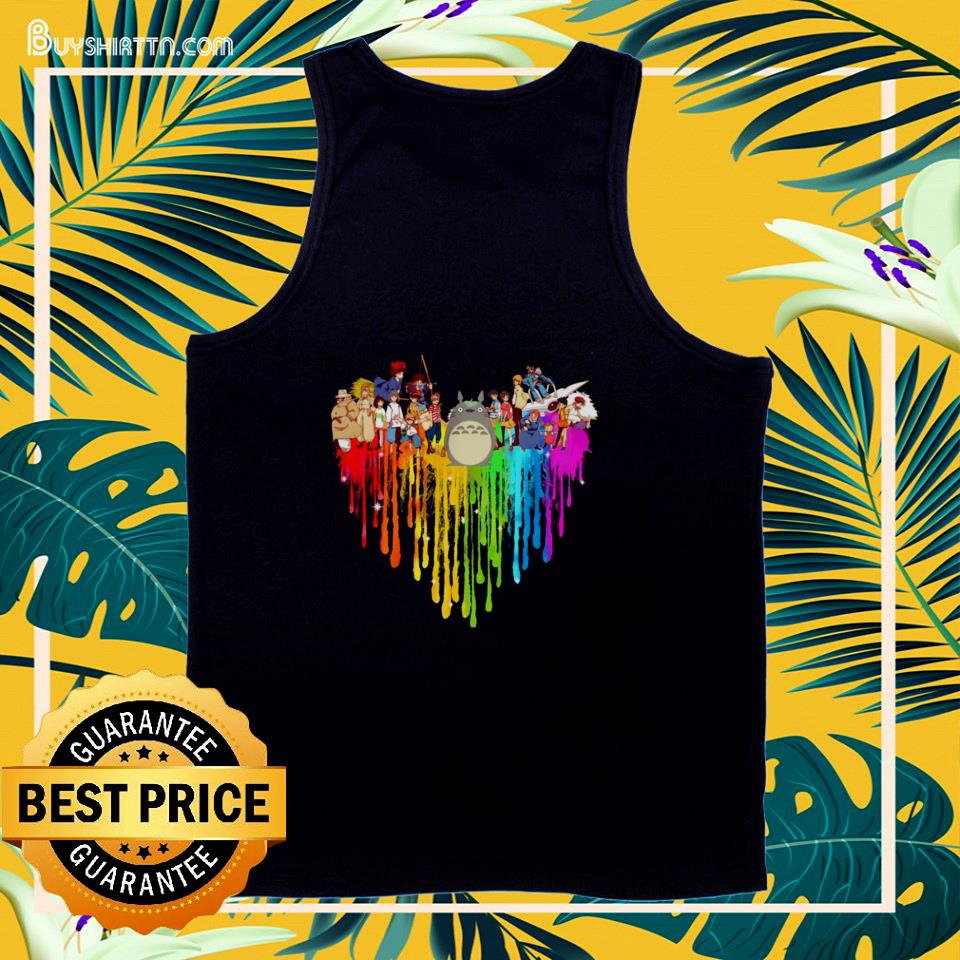 My Neighbor Totoro Characters colorful dripping heart tank top