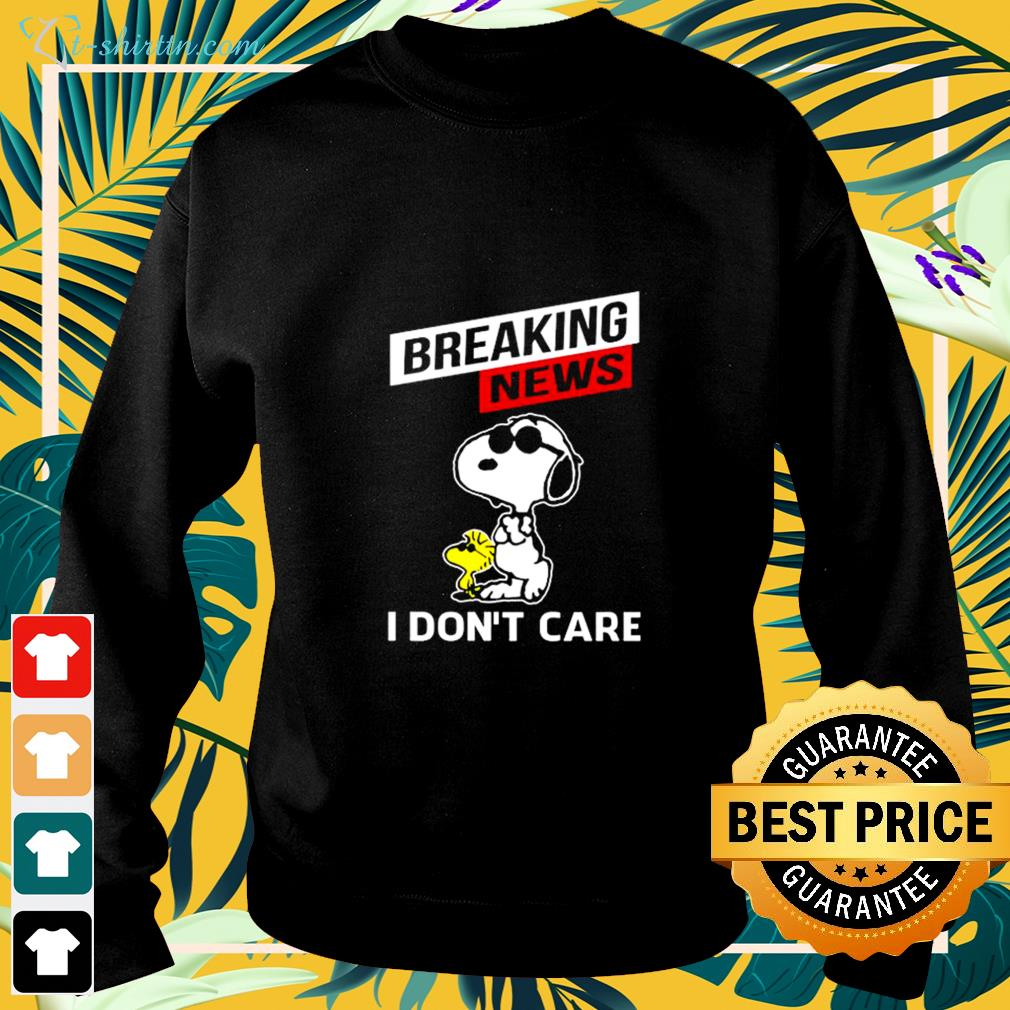 Snoopy and Woodstock breaking news I don't care sweater