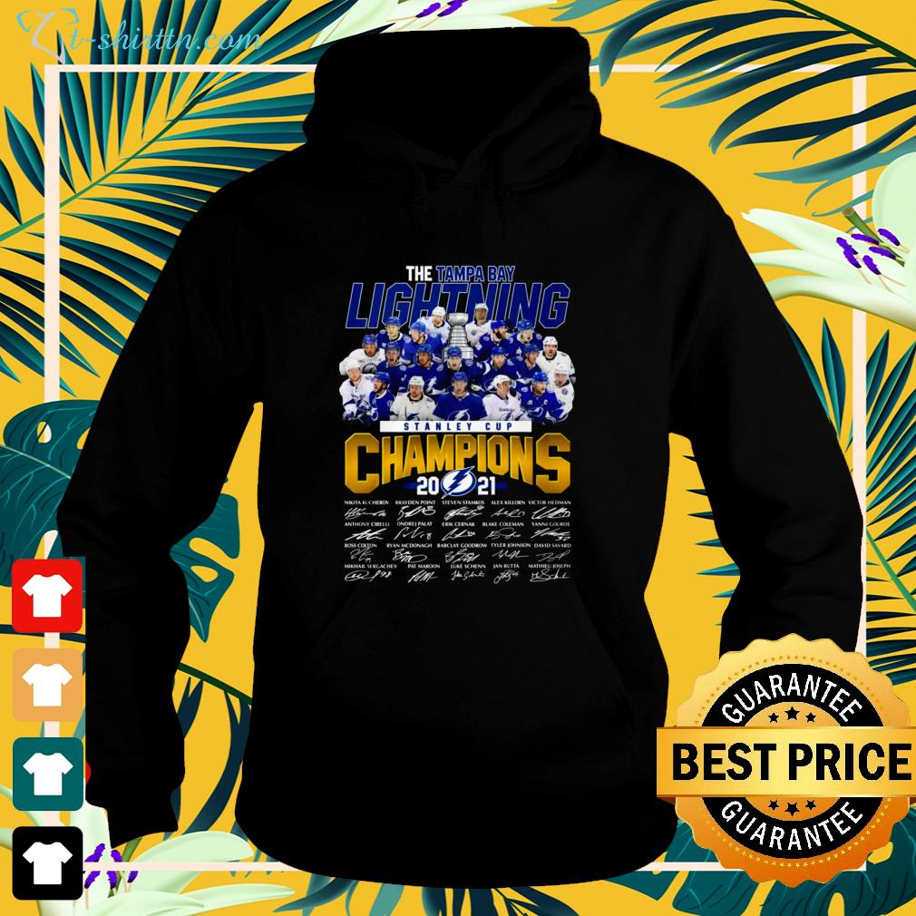 Stanley Cup Champions 2021 The Tampa Bay Lightning signature hoodie