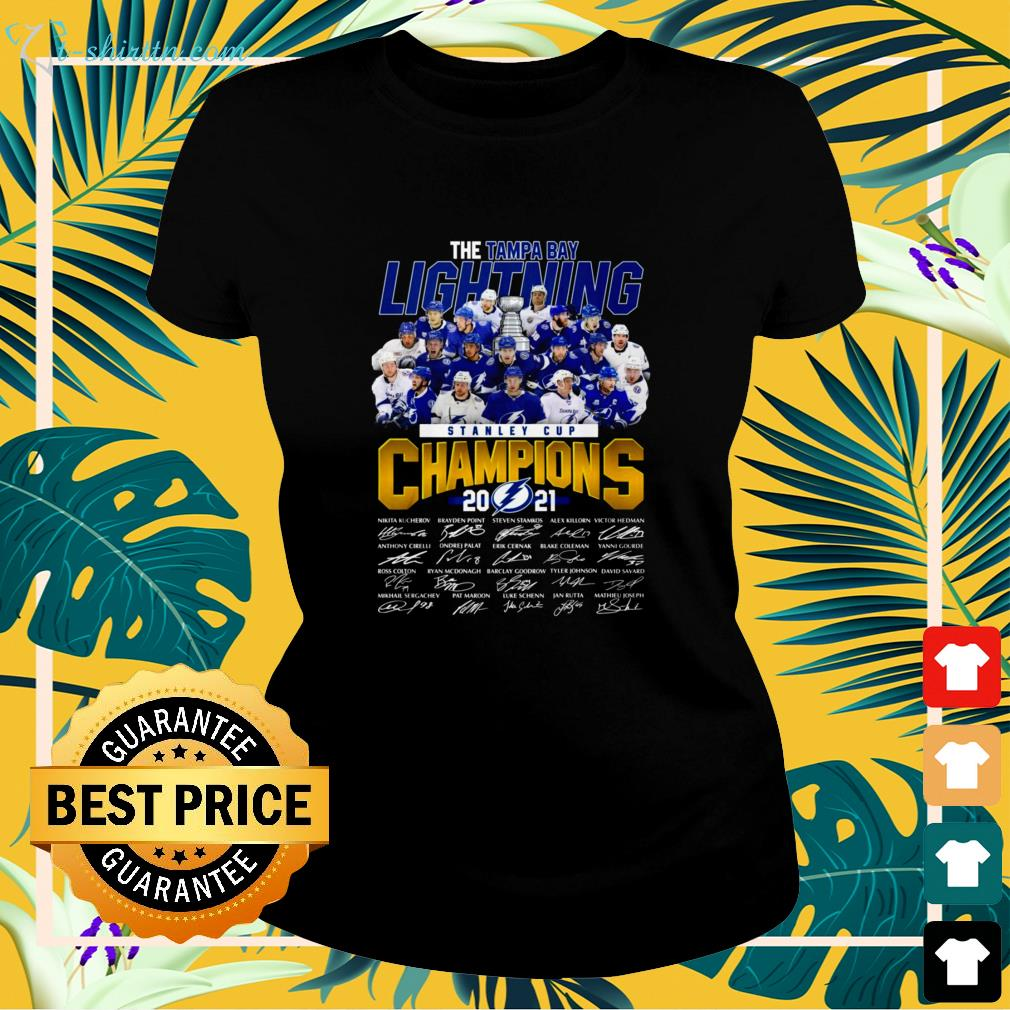 Stanley Cup Champions 2021 The Tampa Bay Lightning signature ladies-tee