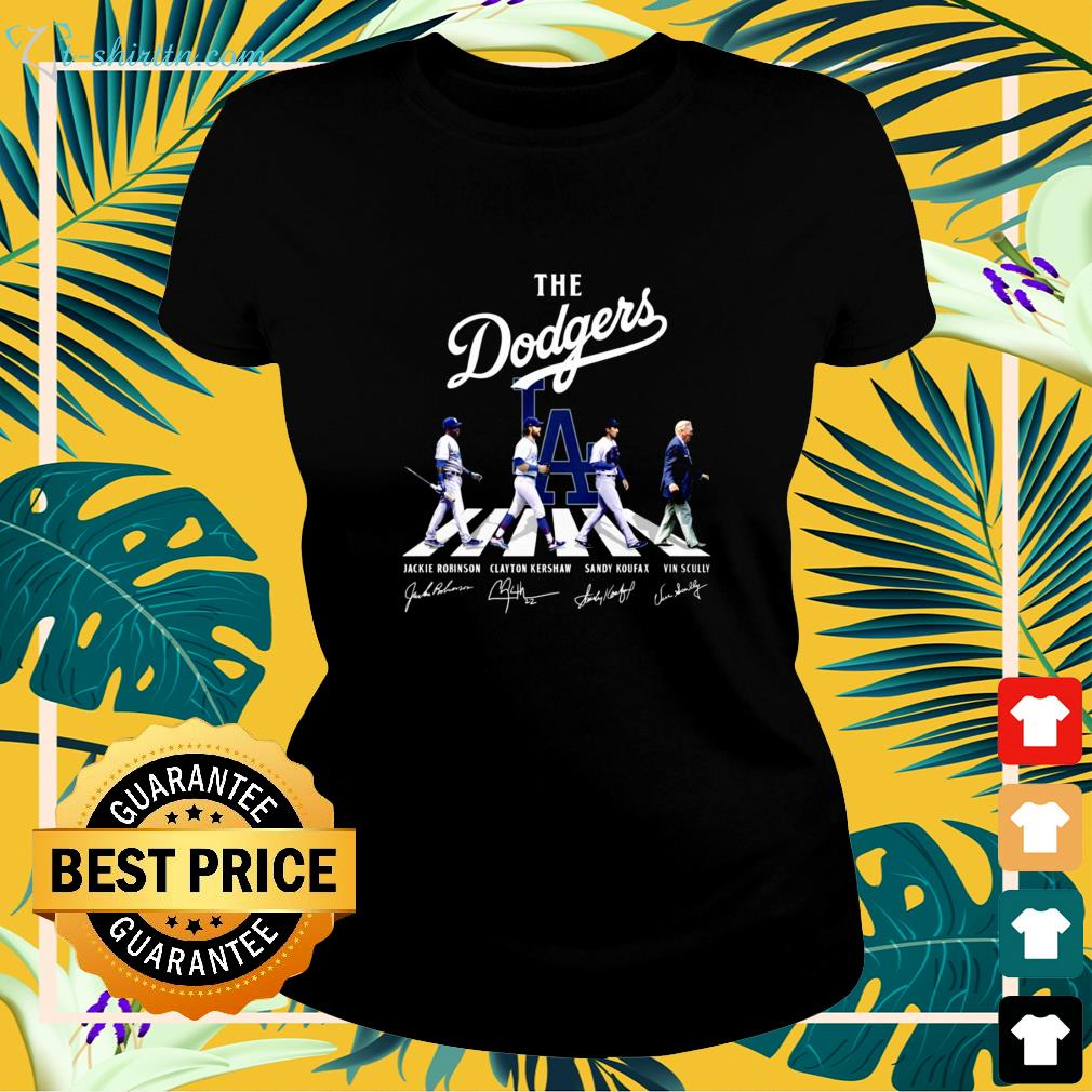 The Dodgers players and Vin Scully Abbey Road signature ladies-tee