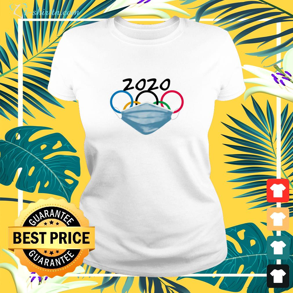 2020 Olympic Rings with mask ladies-tee