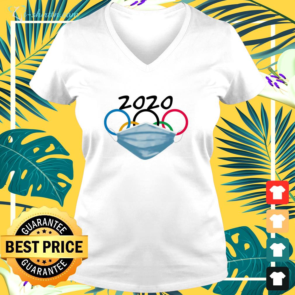 2020 Olympic Rings with mask v-neck t-shirt