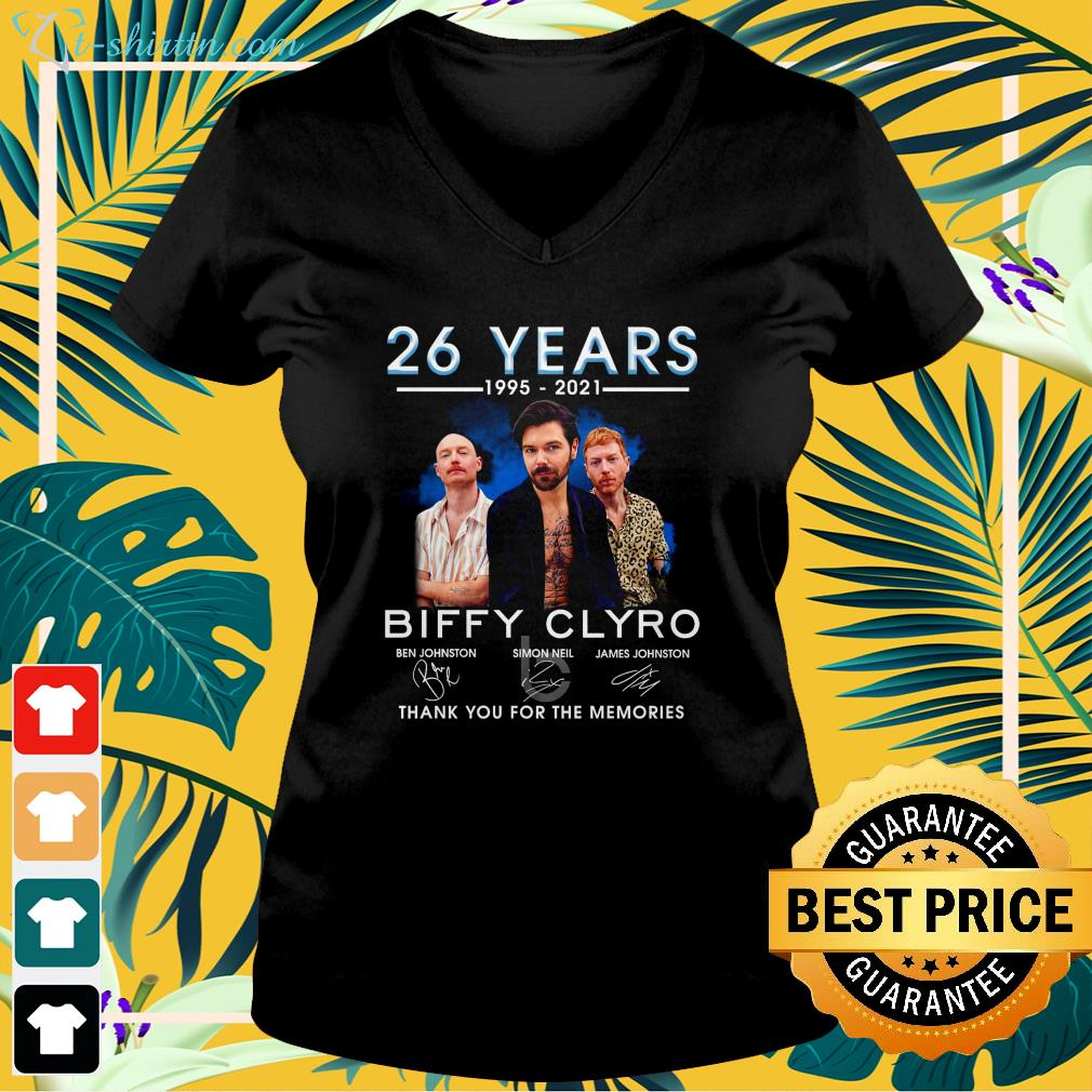 26 years 1995 2021 Biffy Clyro thank you for the memories v-neck t-shirt